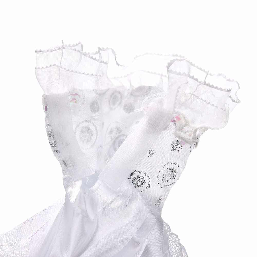 Очаровательное летнее пол Длина белые вечерние свадебное платье для украшения ручной работы, 4 слоя Кукла Принцесса платья Костюмы