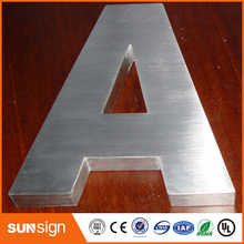 Brushed stainless steel 3D channel letter
