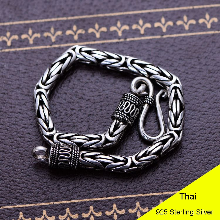 Fashion Domineering 925 Sterling Silver Vintage Thai Heavy Retro Men Jewelry Dragon Keel Chain Bracelets CH053013 925 sterling silver thai vintage pendant thai retro men male jewelry chian dragon bracelet ch059082