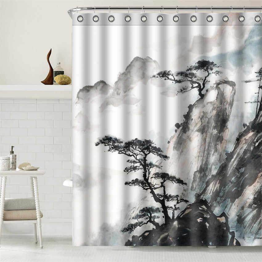 المشهد اللوحة البوليستر النسيج دش الستار الحمام ديكور ورقة حجر للماء كورتينا دي بانو مع السنانير زن