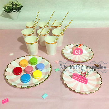 40 People Party Dessert Table Setting Pink/Yellow Stripe Foil Gold Scallop Plates Paper Straw Cups Tablecloth for New Year Party birthday cake