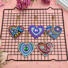 Colorful 5D DIY Diamond Painting Women Girl Bag Jewelry Keychain Pendant Full Special Shaped Drill Embroidery Heart Shape(China)