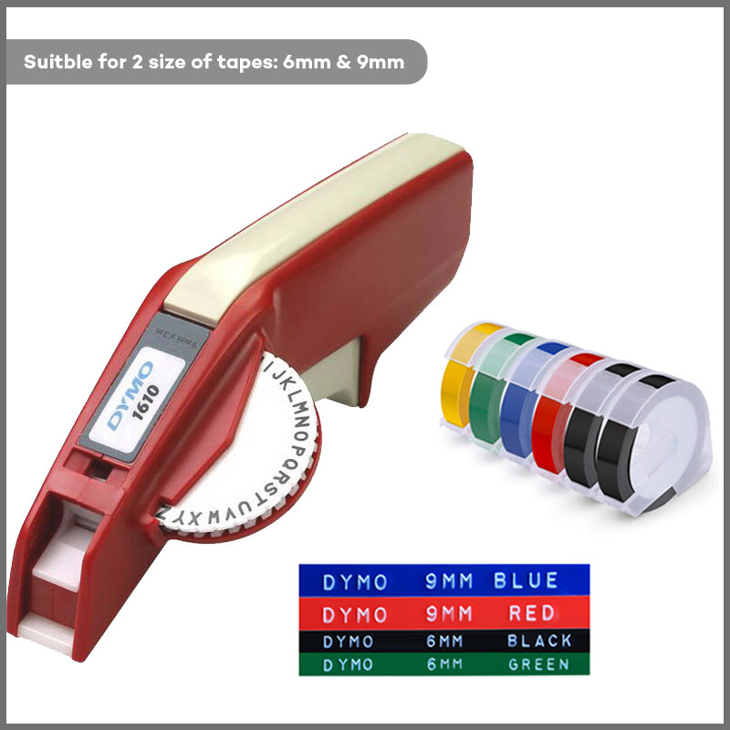 DYMO 1610 Manual Label Maker for 3D Embossing Plastic and 3mm to 9mm Label Tape 1