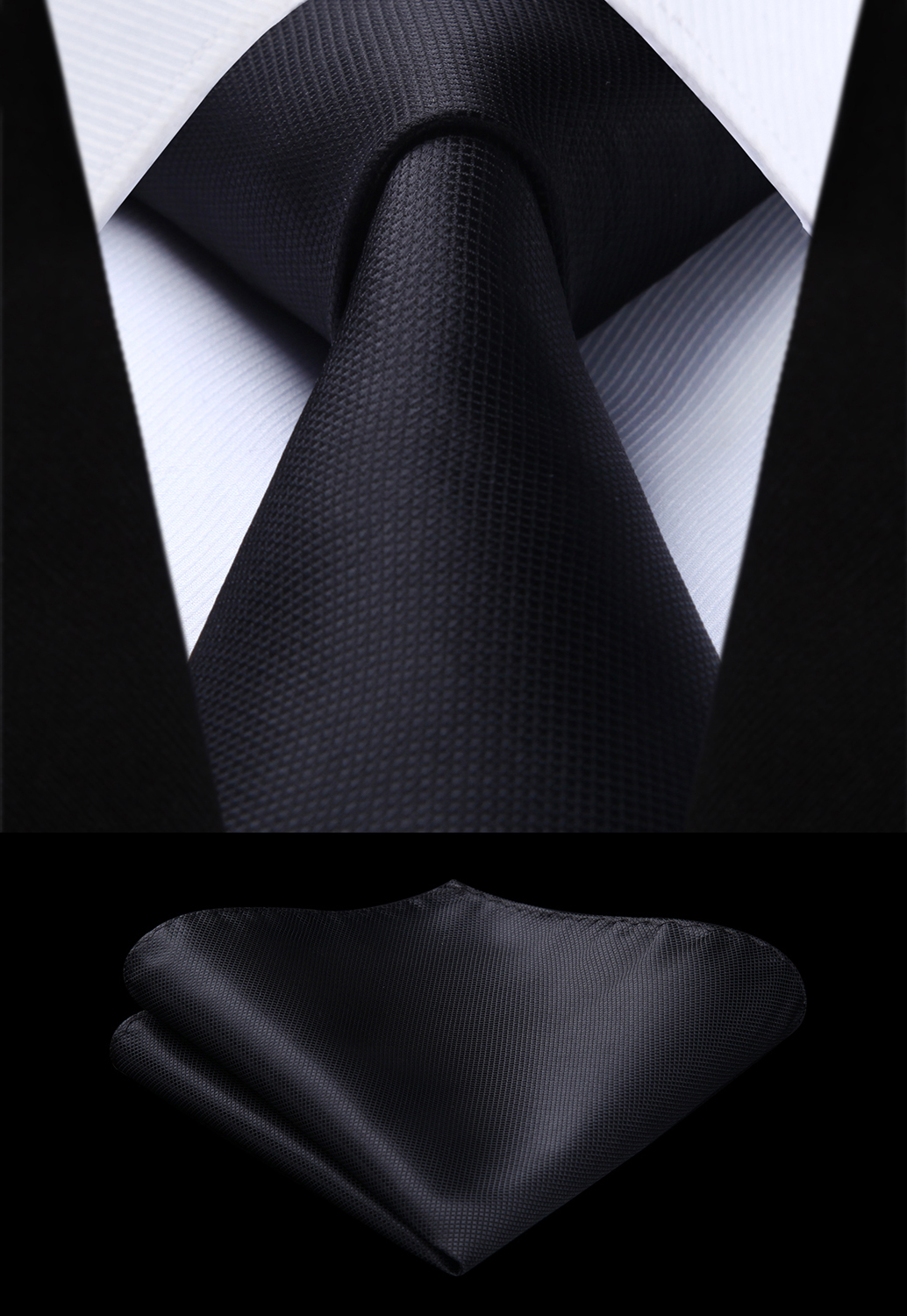 Woven Men Black Tie Plaid & Check Necktie Handkerchief Set#TC626L8S Party Wedding Classic Fashion Pocket Square Tie