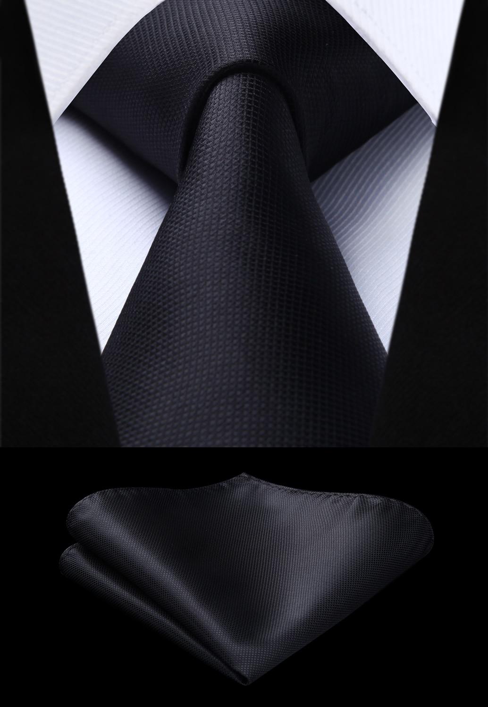 Woven Men Black Tie Plaid & Check Necktie Handkerchief Set#TC626L8S Party Wedding Classic Fashion Pocket Square Tie