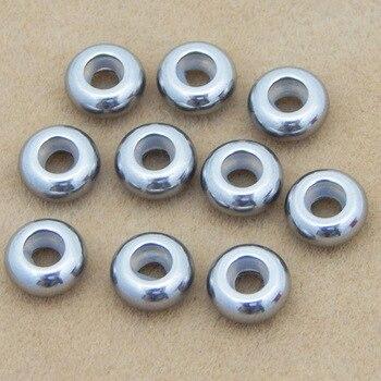 10 Uds agujero tamaño 1,5 2 2,5 3mm Acero inoxidable espaciador dije cuentas tapón Rondelle espaciador cuenta para pulsera DIY fabricación de joyería