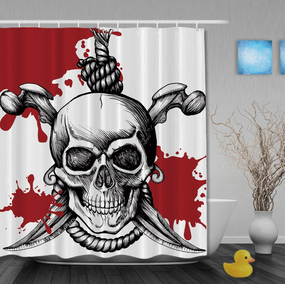 Halooween Pirates Shower Curtains Skulls With Saber Shower Curtain Home Decor Waterproof Polyester Fabric Bathroom Curtain