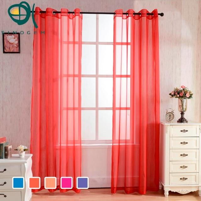 Sinogem Style Modern Window Sheer Curtain Solid For Kitchen Living ...