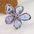 Azul Transparente Anéis Grandes Anéis de Flores de Jóias de Casamento de Cristal de Prata Banhado Anel de Noivado Cúbicos De Zircônia Anel Feminino