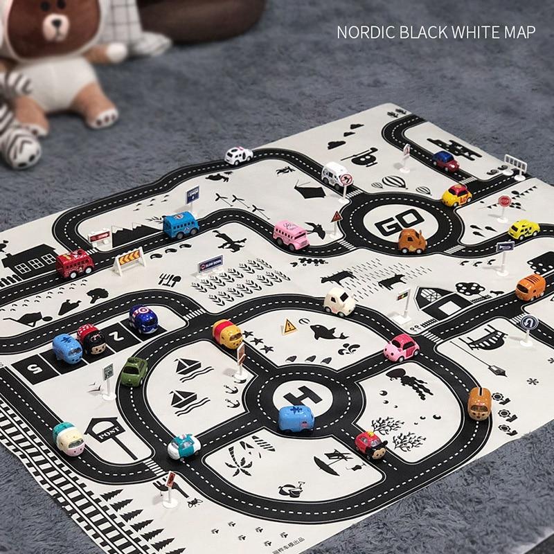 Children's DIY Car Parking Map Toy Baby Climbing Toy Children's Toy Parking Lot Road Map 130 * 100CM English Version