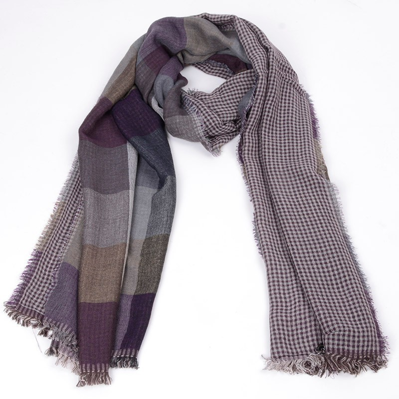 JeouLy warm long cotton Tassel plaid winter Scarves for Men