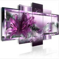 5pcs Square Round Drill 5D DIY Diamond Painting Purple Orchid Flower Multi Picture Combination 3D Embroidery