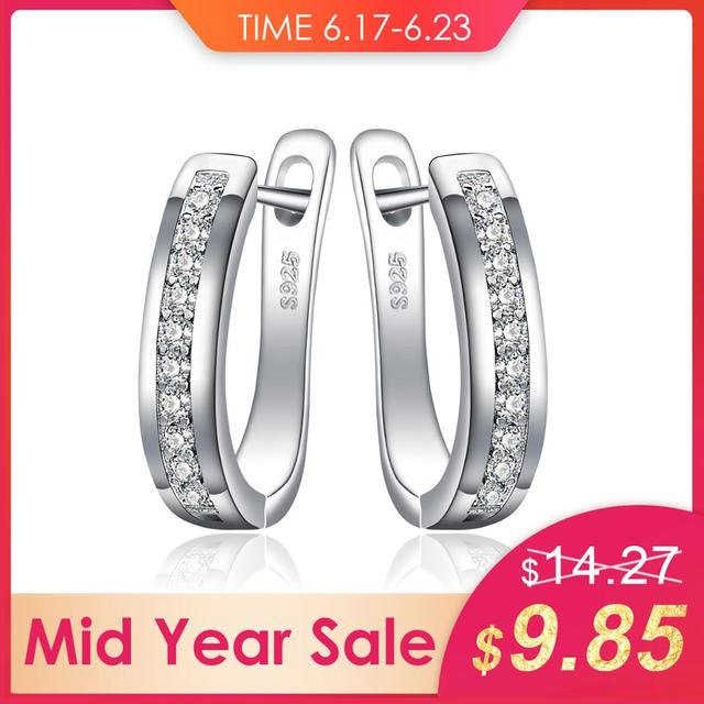 JewelryPalace Cubic Zirconia Anniversary Channel Set Eternity Clip On Earrings 925 Sterling Silver Fashion Jewelry For Women