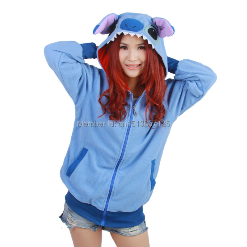 Новопристигнал ! Blue Stitch Fashion Animal Hoodie Lovely Stitch Coat Cosplay С Уши Zip Hoody Топло полярно руно, размер S-XL