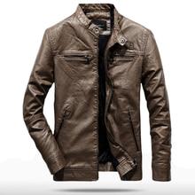 купить 2019 Spring Autumn PU Leather Jacket Men Slim Fit Coat Stand Collar Zipper Jackets Solid Color Casual B Leather Coat WN33 дешево