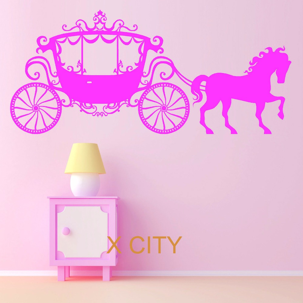 Horse And Carraige Princess Fairy Girls Cinderellas Vinyl Wall Decal