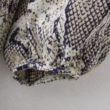 Vadim women sexy V neck snake pattern dress elastic waist three quarter sleeve pleated buttons casual mini vestidos QA423