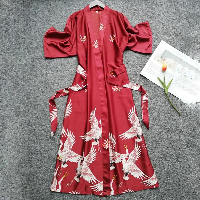 Summer Women Silk Short Sleeve Bridesmaid Robe Sexy Lingerie Sleepwear Nightgown Elegant Robes Satin Print Kimono Bathrobe-in Robes from Underwear & Sleepwears