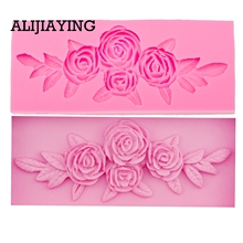M0069 Tree Rose Flower Form Silicone Molds Cookie Cutter Cake Decorating Tools Wedding Fondant Decoration cheap ALIJIAYING Moulds Silicone Rubber CE EU LFGB Stocked Eco-Friendly Cake Tools opp bag Random 14 4cm*4 7cm*1cm 58g