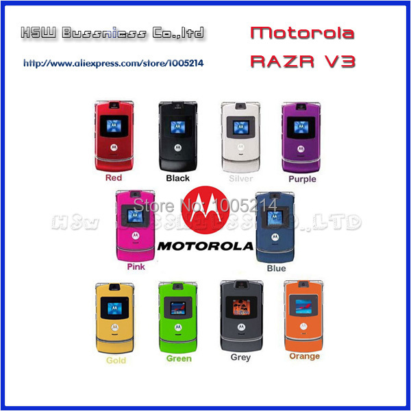 100% de la BUENA calidad Reformado Original Motorola Razr V3 teléfono móvil un a