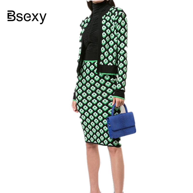 OL Sweater Suits Women 2018 Autumn Green Plaid Long Sleeve Knitted Crop Top Cardigan + High Waist Midi Pencil Skirt 2 Piece Sets