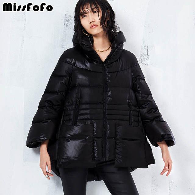 Missfofo 2017 модные и теплые высокое качество дамы пуховик черный размер S-XL офис леди карман на молнии очень хорошее пальто