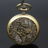 Double Lover Birds Bronze Tone Skeleton Case Mens Pocket Watch Auto Mechanical Self Wind Fashion Designer