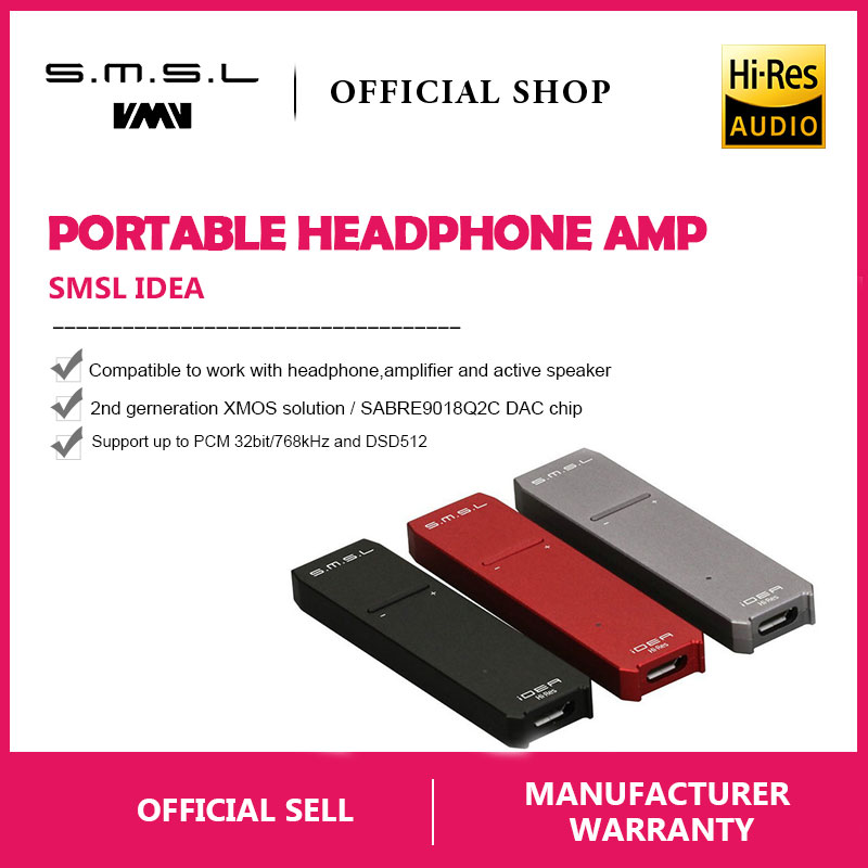 SMSL iDEA Mini Hi fi Audio Portable USB DAC SABRE9018Q2C Portable USB DSD512 32bit/768kHz DAC and Audio Headphone Amplifier -in Headphone Amplifier from Consumer Electronics