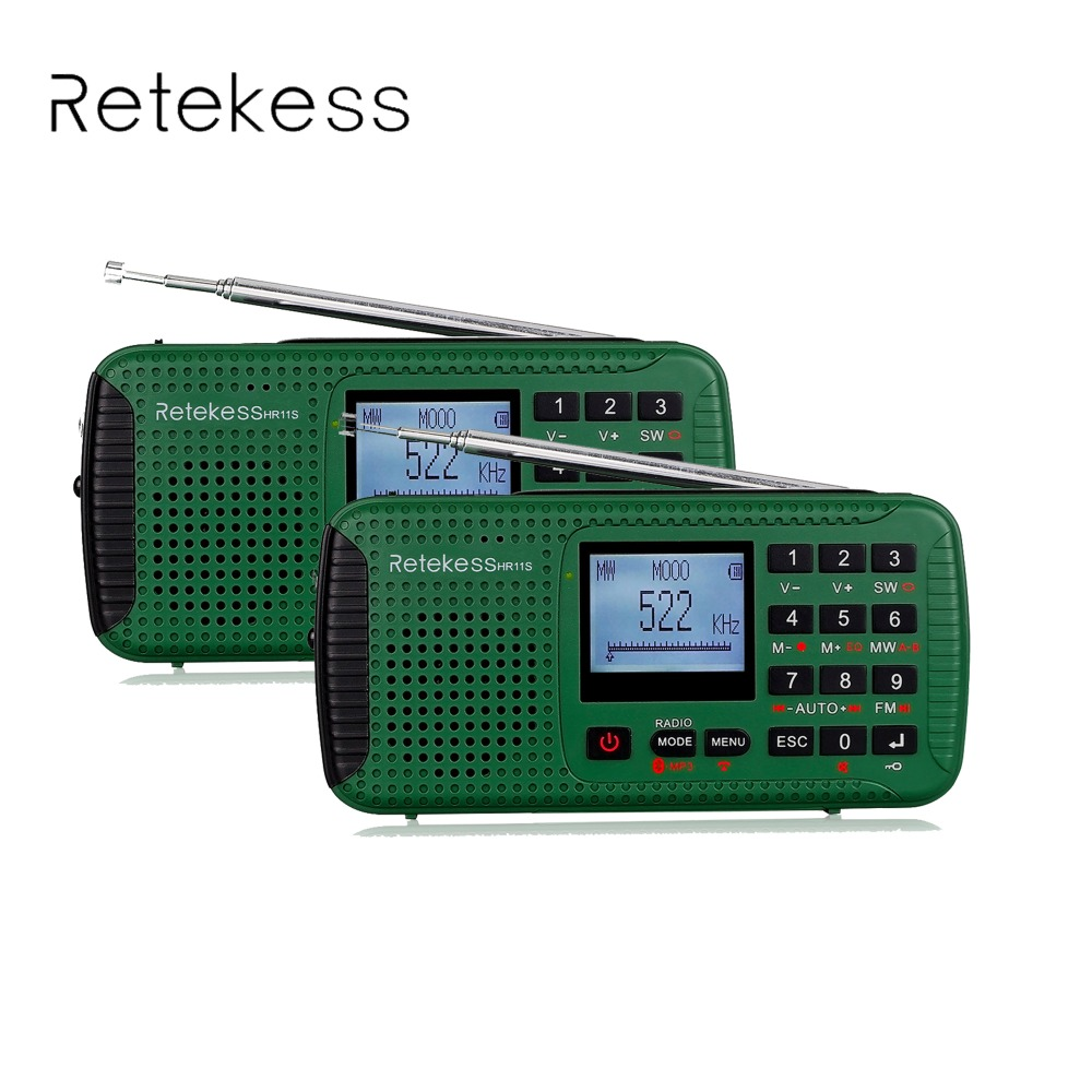 2 Pcs Retekess HR-11S Digital Recorder Portable FM/MW/SW Hand Crank Solar Emergency Alert Radio Station Bluetooth Music F9208G old version degen de1103 1 0 ssb pll fm stereo sw mw lw dual conversion digital world band radio receiver de 1103 free shipping