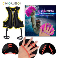 OMOUBOI Black Silicone String Swim Hand Web Fins Plastic Training Blade Flippers With Inflatable Surfing Rash Vest Safety Jacket