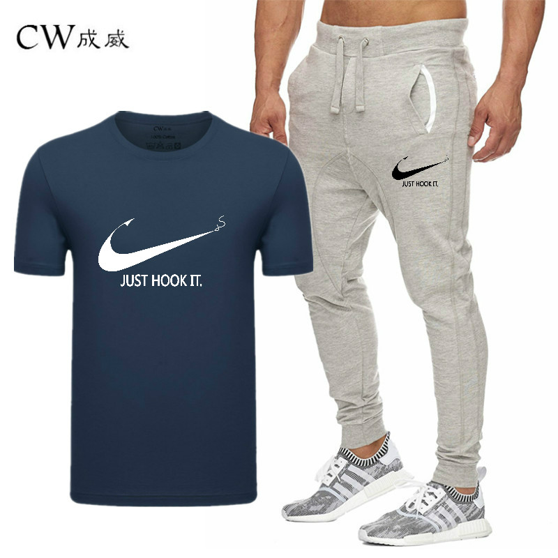 HTB1FpCuVwHqK1RjSZFEq6AGMXXa3 2019 Quality Men T Shirt Sets+pants men Brand clothing Two piece suit tracksuit Fashion Casual Tshirts Gyms Workout Fitness Sets