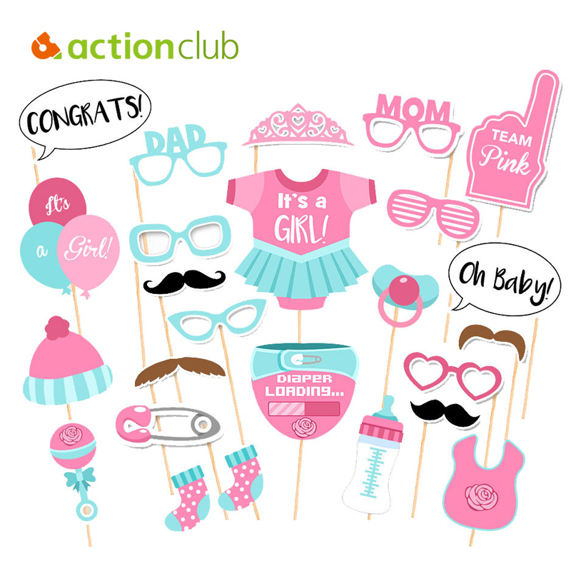 actionclub baby shower decorations new 25pcs girl boy birthday party photography funny masks glasses decor babyshower