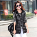 New 2016 Fashion Winter PU Vest Women Hooded Cotton Down Spliced Women Jacket Vest WaistCoat Female Casual Outwear
