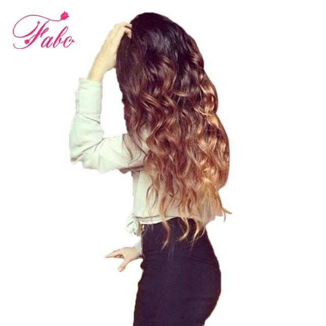 Fabc Hair Ombre Peruvian Body Wave hair extensions  1b/4/27 10-26 inch Non-Remy Human Hair weave bundles can buy more pieces