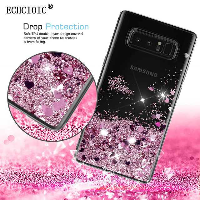 fb8de5ac67af For Samsung Galaxy Note 8 Liquid Glitter Sparkle Quicksand Bling Case Girls  Women Cute Clear Soft TPU Silicone Back Cover