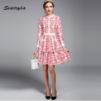 2017 Brand Women Clothes Elegant Summer Long Sleeve Flower Floral Print Knee Length Dress New Fashion