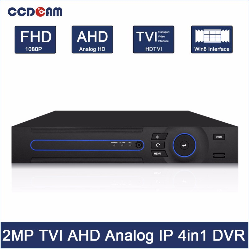 CCDCAM High Quality H.264 4 Channel Real Time Recording Four in one 1080P CCTV AHD Hybrid DVR AHD6404D