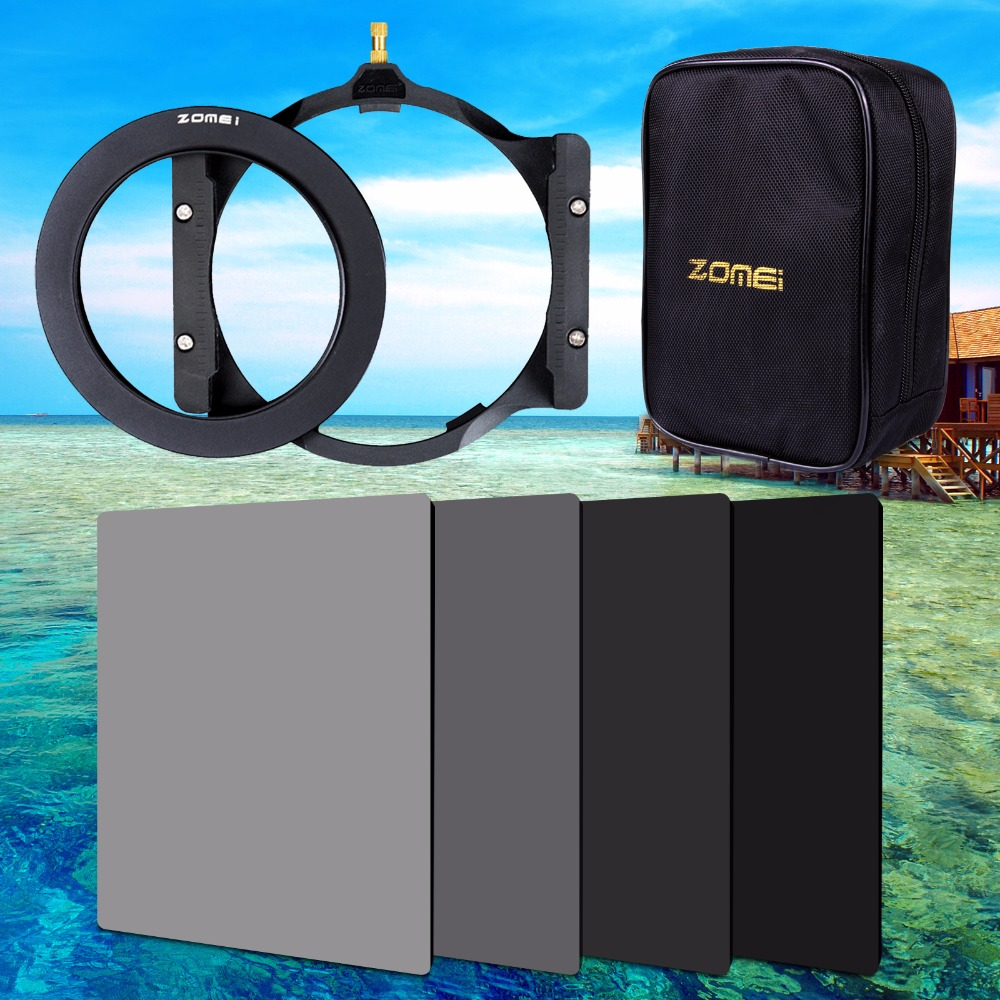 Фотография Zomei 150*100mm ND ND2 ND4 ND8 ND16 Neutral Density square filter holder 16 pieces case adapter ring 67mm 72mm 77mm 82mm