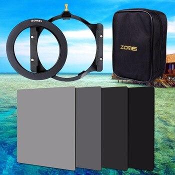Zomei 150*100mm ND ND2 ND4 ND8 ND16 soporte de filtro cuadrado de densidad neutra 16 piezas anillo adaptador de caja 67mm 72mm 77mm 82mm