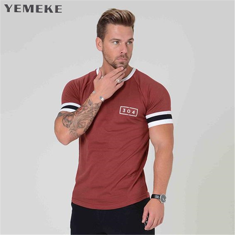 YEMEKE Slim Fit Tees Men Patchwork T-Shirts Compression Shirt Tops Bodybuilding Fitness O-Neck Short Sleeve T Shirt
