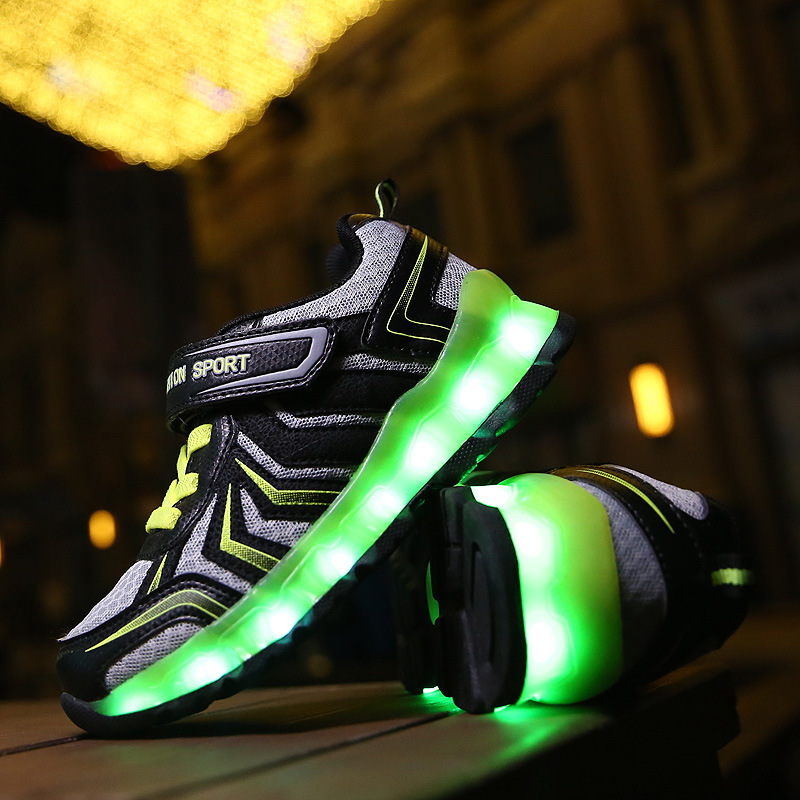 Children LED Light Shoes USB Charging 2016 New Casual Kids Luminous Sneakers Boys Girls Fashion Breathable Glow Shoes 25-35 bright leather children led kids light shoes for boys girls new fashion luminous sneakers chaussure enfant lumineuse shoes