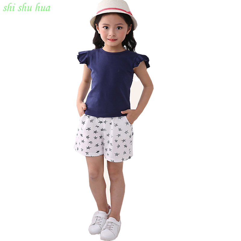 High Quality Child Clothing 2018 Summer New Girl Set Children cotton Short-Sleeved Shirt + Casual Shorts Babys  Printing Clothes