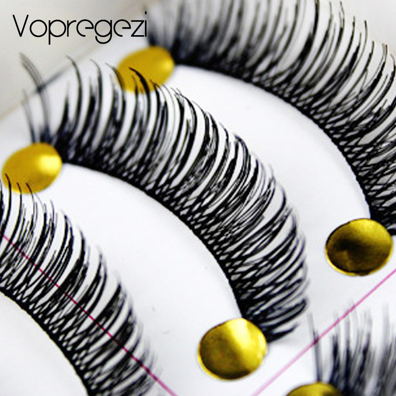 Vopregezi 10pair Natural Thick False Eyelashes Eye Lash Extension Fake Lashes Voluminous Maquiagem Long Makeup Fake Eyelashes