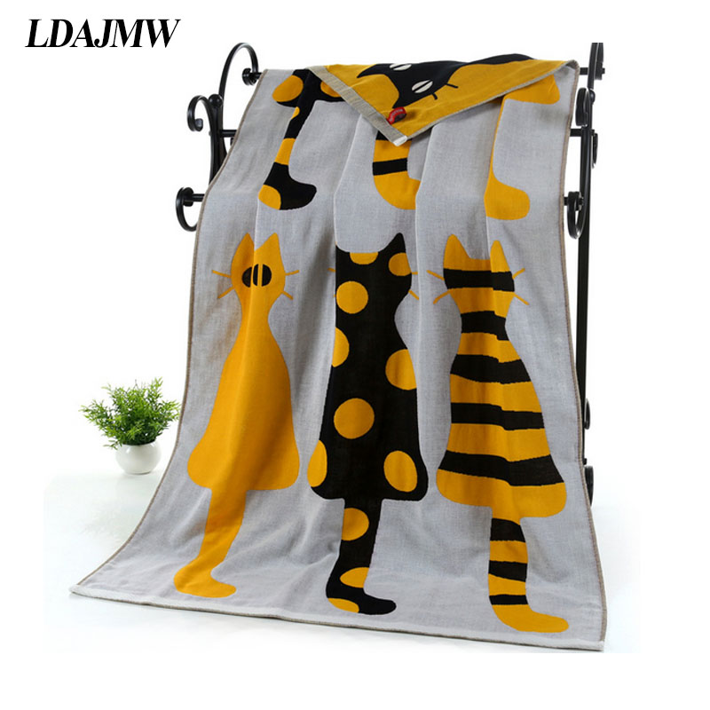 LDAJMW Cotton Gauze Adult Cartoon Towel Bath Towel Textile Large Thick Towel Hotel Bathrobe Beach Towel Shawl Children Blanket