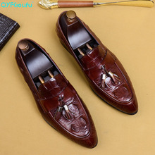QYFCIOUFU Pointed Toe Mens Dress Shoes Genuine Leather Wedding Shoes Crocodile Pattern Flats Tassel Formal Shoes US Size 11.5