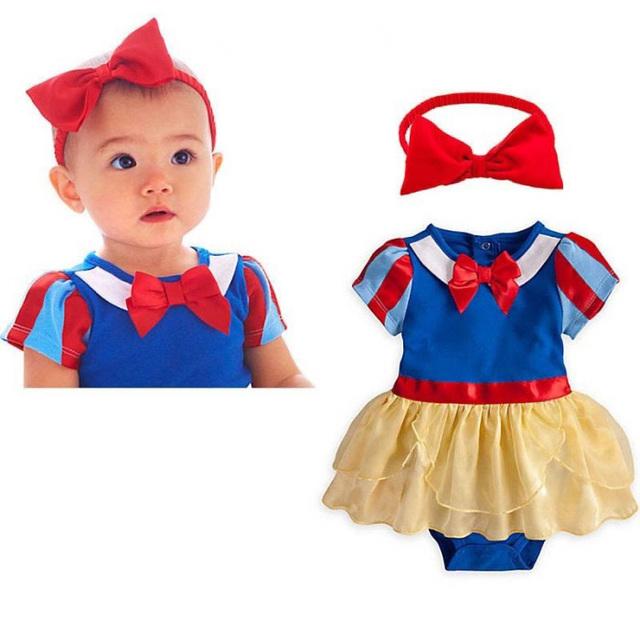 2017 moda 2 pcs menina bebe bebê criança headband + romper peça da escola rompers partido fancy dress aniversário branca de neve roupas conjuntos
