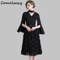 Split Flare Sleeve Choker V Neck Office Lady Dress 2019 New Women Ol Elegant Tassels Feathers Patckwork Black Spring Midi Dress
