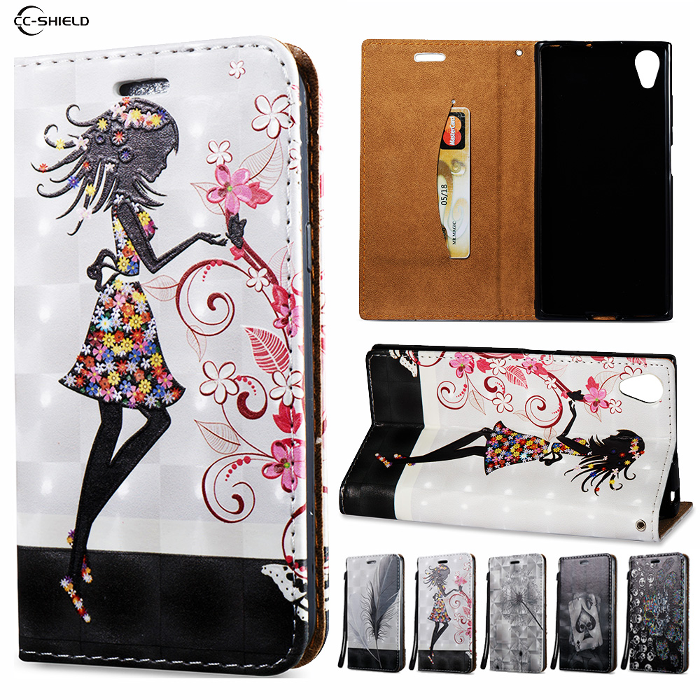 3D Flip Case for Sony Xperia XA1 Plus XA1plus G3426 G3423 G3416 G3412 G3421 Wallet Leather Case Stand Card Hold Phone Cover Bags