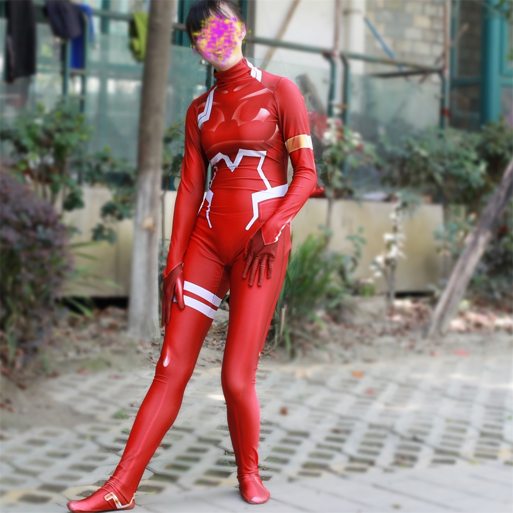 DARLING in the FRANXX Costume Zero Two Fighting Suit Cosplay Lycra Jumpsuit M.01