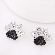 Silver Jewelry crystal Dog paw Stud Earrings